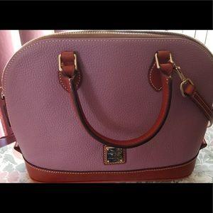 Dooney & Bourke lavender pebble zip zip satchel